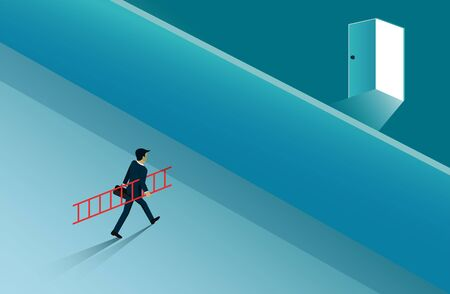 Businessmen walked hold the stairs to the wall to cross to the open door with bright light. business success concept. creative idea. leadership. startup. illustration cartoon vector Иллюстрация