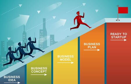 Businessmen are competition running up to the steep slopes on the bar graph go to the red flag target. Business finance success. Overcome obstacles. leadership. illustration cartoon vector