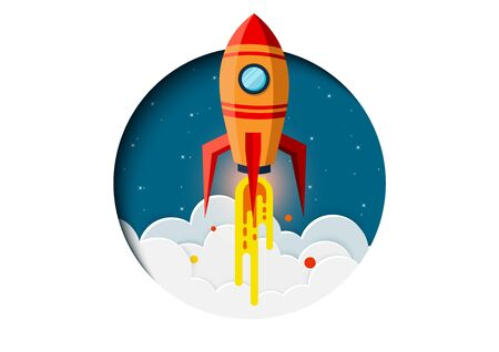 think outside the box. space shuttle are flying up into the sky while flying above a cloud. go to business success goal. leadership. startup. creative idea. illustration cartoon vector