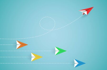 Red paper plane changing direction from paper airplane colourful. new idea. Different business concept. courage to risk. leadership. illustration cartoon vector