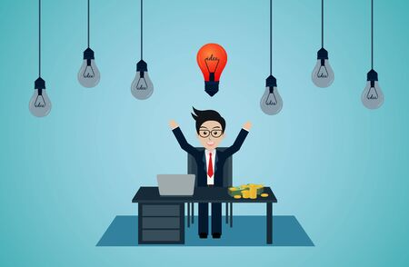 Businessman sit at the desks with notebook. workspace with table and computer. light bulb over his head. creative idea. Initiative. leadership. vector illustration