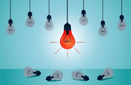 Light bulb set and glowing down to the ground is outstanding . creative idea. flat vector lamp icon with concept  on white background. illustration vector