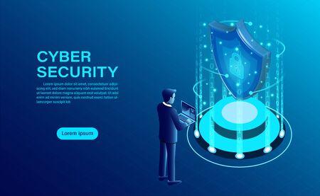 La bannière du concept de cybersécurité avec l'homme d'affaires protège les données et la confidentialité et le concept de protection de la confidentialité des données avec l'icône d'un bouclier et d'un verrou. illustration vectorielle isométrique plat Vecteurs