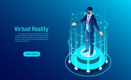 man wearing goggle vr with touching interface Into virtual reality world. Future technology. flat isometric vector illustration
