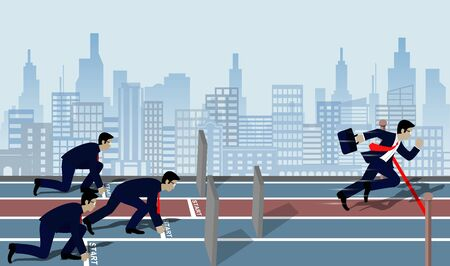 Businessmen run to the finish line to success in business Concept. There are Barriers . The wall is blocking the way ahead.  Cartoon, vector illustration.