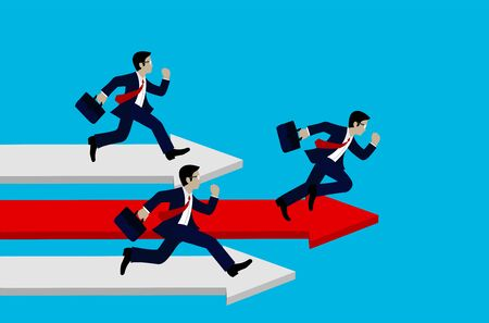 Businessman running on the arrow red and white. Business Success concept.  Move forward to the goal. leadership. modern ideas And to corporate . competing to destination. illustration. paper art