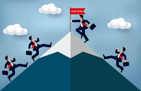 Businessman climbing Mountain to the flag go to goal. destination, victory  to success concept with idea. leadership concept. Ladder to success business. Cartoon vector illustration