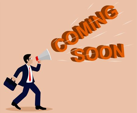Businessman holding a megaphone. Announcement with COMING SOON Text. Commercial Promotion Poster. On a light brown background. cartoon. Vector illustrations Illustration