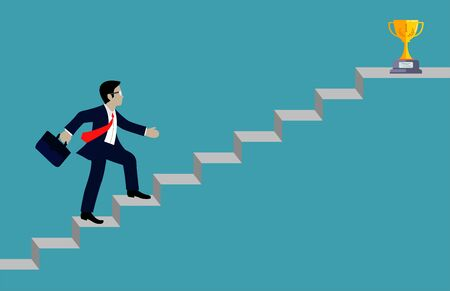 Businessmen walk up the stairs to the goal. Step up the ladder to success,  and progress in the job. Of the highest organization. Business Finance Concepts. Vector illustrations