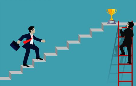 businessman walking up on staircase go to goal . destination, victory  to success concept with idea. leadership concept. Ladder to success business. Cartoon vector illustration