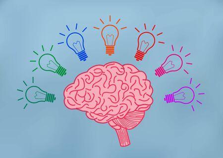 Open Mind Illustration Creative ideas. Yellow brain with multiple light bulbs Luminous sparking ideas in business. on background blue vector Vektorgrafik