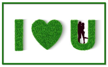 Green grass letter. I love you. I heart u. Valentines Day greeting card with calligraphy. Men and women stand together. Show love with each other. Isolated from white background Vector illustrations Ilustração