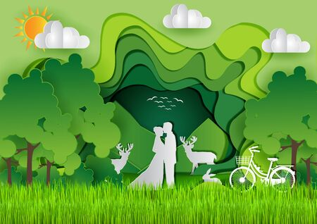 Men and women stand together Wild animals are staring In the midst of nature. Green abstract background design template. Paper art style and eco concept environment conservation.Vector illustration. Ilustração