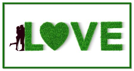 Green grass letter. I love you. L, Heart, V, E. Valentine's Day. Men and women stand together. Show love with each other. Isolated from white background Vector illustrations Ilustração