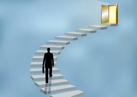 Gli uomini d'affari salgono le scale fino alla porta. Sali sulla scala del successo, degli obiettivi nella vita e dei progressi nel lavoro. Della più alta organizzazione. Concetti di finanza aziendale. Illustrazioni vettoriali