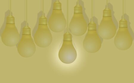 Creative ideas about the Light bulb. Different and distinctive lamps are lined in a vignette on a yellow background. The show featured in different ideas in the business. Success Vector illustrations