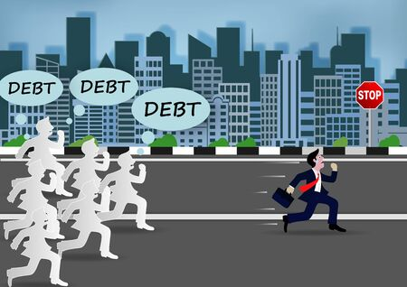 Businessman or manager run away from big debt. With many creditors chasing him.  イラスト・ベクター素材