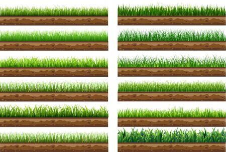 Satz von grünem Gras mit einem schönen natürlichen Boden getrennt von einem weißen Hintergrund. Verwendet für Vektorillustration. isoliert