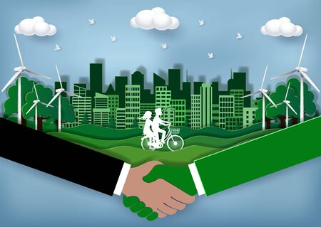 Eco city friendly Concept. Join hands with the environment to reduce global warming. Reduce pollution. Men and women are cycling in the lawn. Green town  Crafts & Paper Art