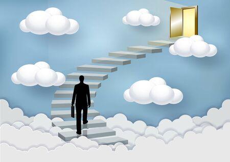 Gli uomini d'affari salgono le scale fino alla porta nel cielo sopra le nuvole. Sali la scala verso il successo e progredisci nei più alti compiti organizzativi. Concetti di finanza aziendale. Illustrazioni vettoriali
