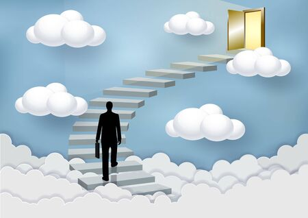 Businessmen walk up the stairs to the door in the sky above the clouds. Step up the ladder to success and progress in the highest organizational tasks. Business Finance Concepts. Vector illustrations Illustration