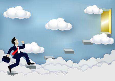 Les hommes d'affaires montent les escaliers jusqu'à la porte du ciel. Pour réussir dans la vie et progresser dans le travail. De la plus haute organisation Business Finance Concepts. dessin animé, illustrations vectorielles