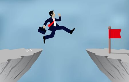 Businessman jumping over obstacles over chasm Go to the opposite goal concept.  business success. challenge, risk, and overcome problem or obstacles. Cartoon, vector illustration. 일러스트