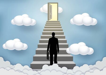 Businessmen walk up the stairs to the sky door. Step up the ladder to success, goal in life, and progress in the job. Of the highest organization. Business Finance Concepts. Vector illustrations