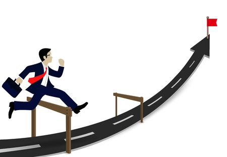 Concepts Business executives can jumping over obstacles on the road, be successful business arrows, and overcome problem or obstacles. Cartoon, vector illustration