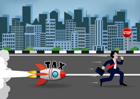 Businessman runs away tax in Big city. Rocket runs after a man on the street. With letters T.A.X. Cartoon vector illustration  イラスト・ベクター素材