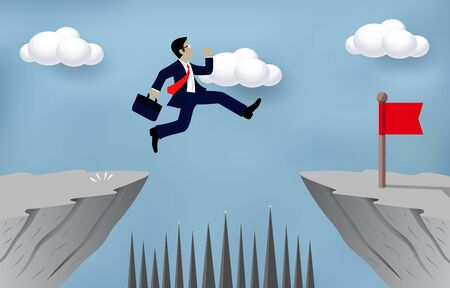 Businessman jumping over obstacles over chasm Go to the opposite goal concept.  business success. challenge, risk, and overcome problem or obstacles. Cartoon, vector illustration. Ilustração