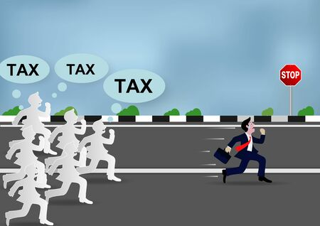 Businessman running away from tax shooting, With many creditors chasing him. illustration vector cartoon  イラスト・ベクター素材