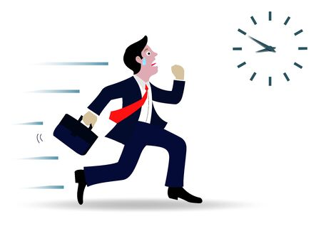 Les hommes d'affaires courent pour aller travailler. Suivez l'horloge pour travailler tard. Course contre le temps. Concept d'entreprise. dessin animé isolé d'un fond blanc, vecteur d'illustration