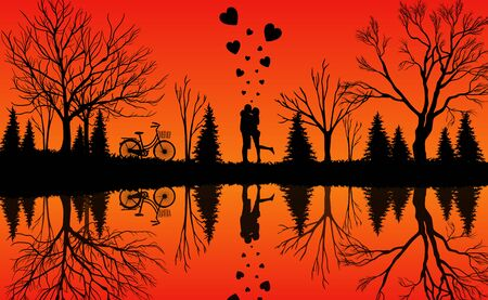 Men and women stand in the middle of the forest with their bicycles parked under the trees. The atmosphere is warm with a beautiful nature reflected in the water. Vector illustrations