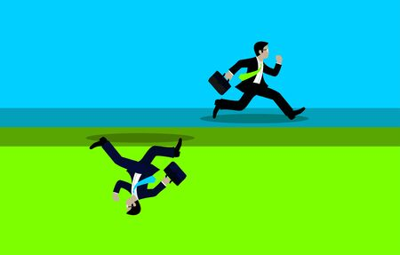 Businessmen run competition go to goal. The concept of the opposite route. of financial business. leadership. illustration vector