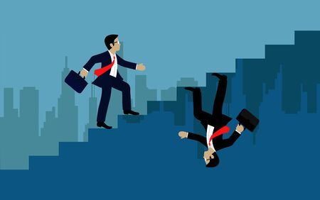 Businessmen walk up to stairs go to goal. The concept of the opposite route. of financial business. illustration vector Ilustração