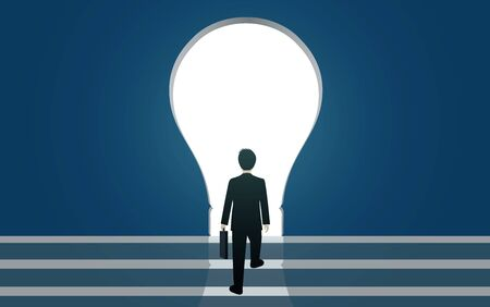 Businessmen walk up to the gap of Light bulb. Silhouette of people against blue wall.  business finance concept. leadership. vector illustration 스톡 콘텐츠 - 129289546