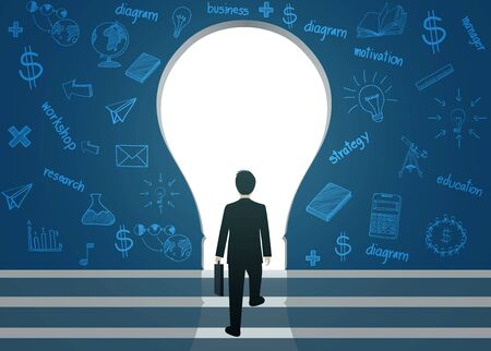 Businessmen walk up to the gap of Light bulb. Silhouette of people against blue wall.  business finance concept. leadership. creative idea. icon. vector illustration