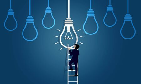 businessman race walking up on staircase go to lamp. destination, victory  to business success concept with idea light bulb. leadership. creative. on background blue. vector illustration