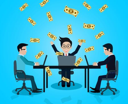 Business and financia success concept happy businessman. lot of money has come down. manager in worker in office sit at the desk with notebook. on blue background. vector illustration Vettoriali