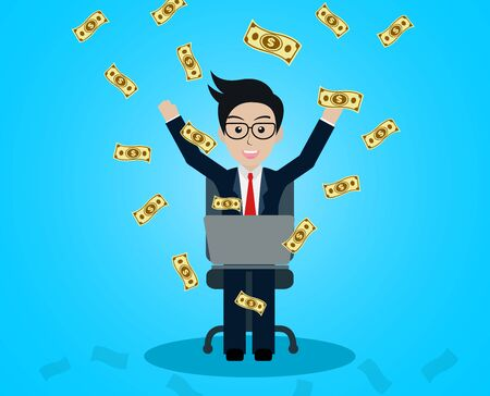 Business and financia success concept happy businessman. lot of money has come down. manager in worker in office sit at the desk with notebook. on blue background. vector illustration Illustration