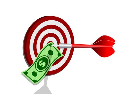 dollar banknote in center of archery. darts target. success business concept. creative idea 3d illustration isolated on white background Иллюстрация