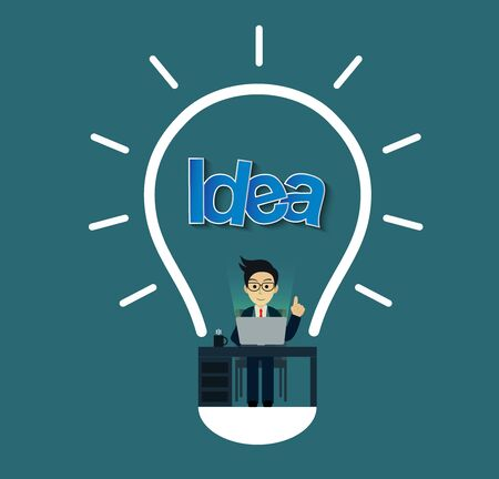 creative idea concept. businessman in workspace sit at the desks with notebook with lightbulb decoration over his head one person. leadership. icon vector illustration Vector Illustration