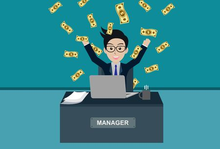 Business and financia success concept happy businessman. lot of money has come down. manager in worker in office sit at the desk with notebook. workspace with table and computer. vector illustration