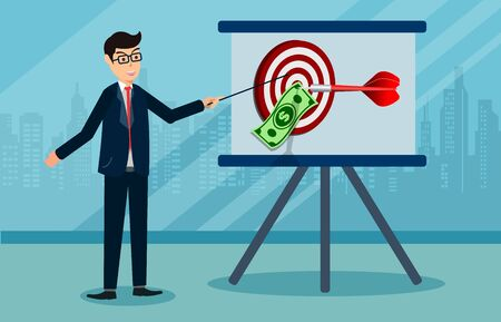 Businessmen are presenting a report. dollar banknote in center a darts target. success business concept. creative idea 3d illustration isolated on white background