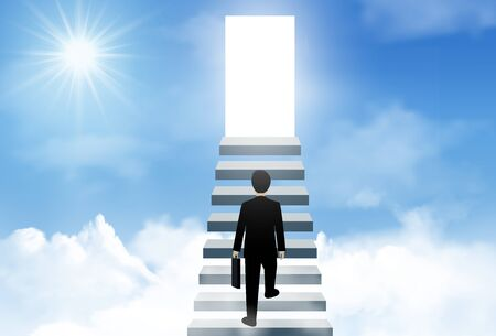 One businessman walk up the stairs to the lighting door of success on sky. concept of business advancement and higher success and leadership in the highest organization. Vector illustrations