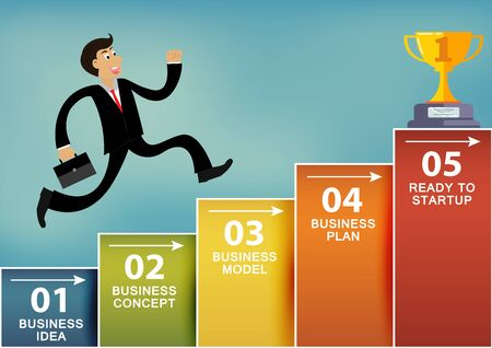 Businessmen runing up the bar graph go to the trophy goal. To be one of the highest achievers. concept of business advancement and higher success and leadership in the highest Stock Illustratie