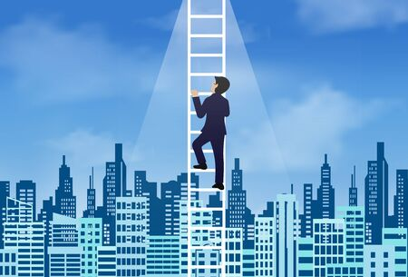 One businessman climbed the stairs to the lighting of success on sky. In the middle of the city. concept of business advancement and higher success and leadership in the highest organization