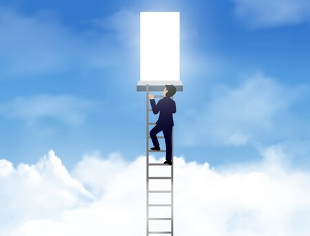 One businessman climbed up the stairs to the lighting door of success on sky. concept of business advancement and higher success and leadership in the highest organization. Vector illustrations