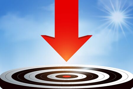 Red arrows fling down from the sky go to center target. business success goal. creative idea. leadership. illustration vector